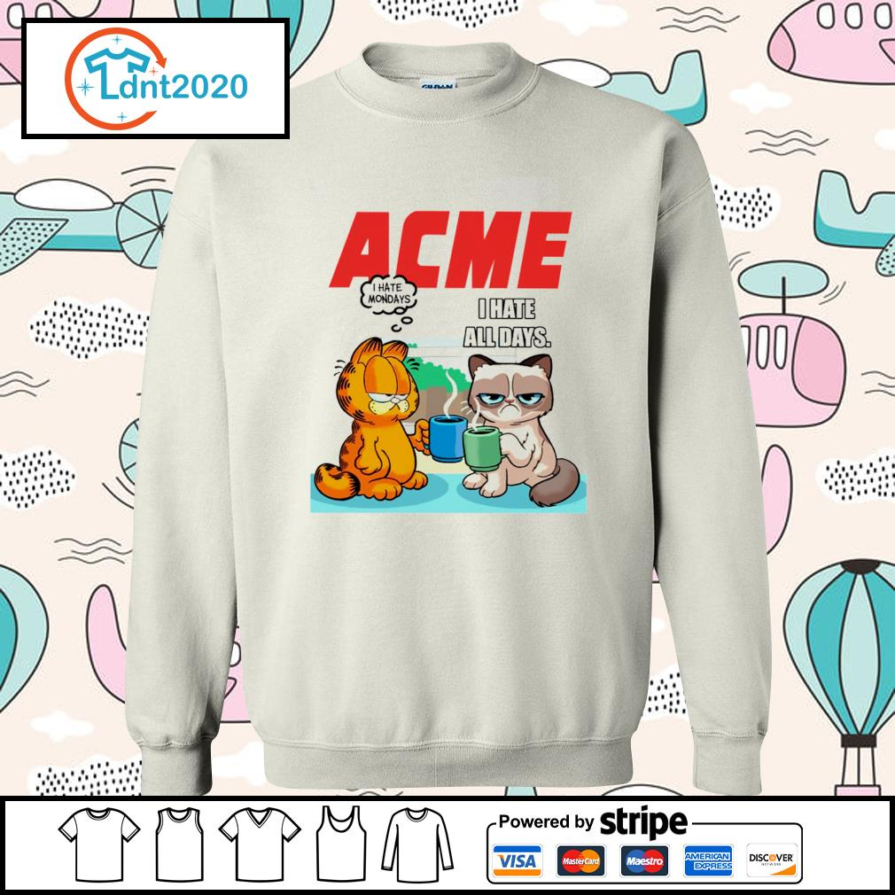 Acme garfield I hate monday grumpy cat I hate all days s sweater