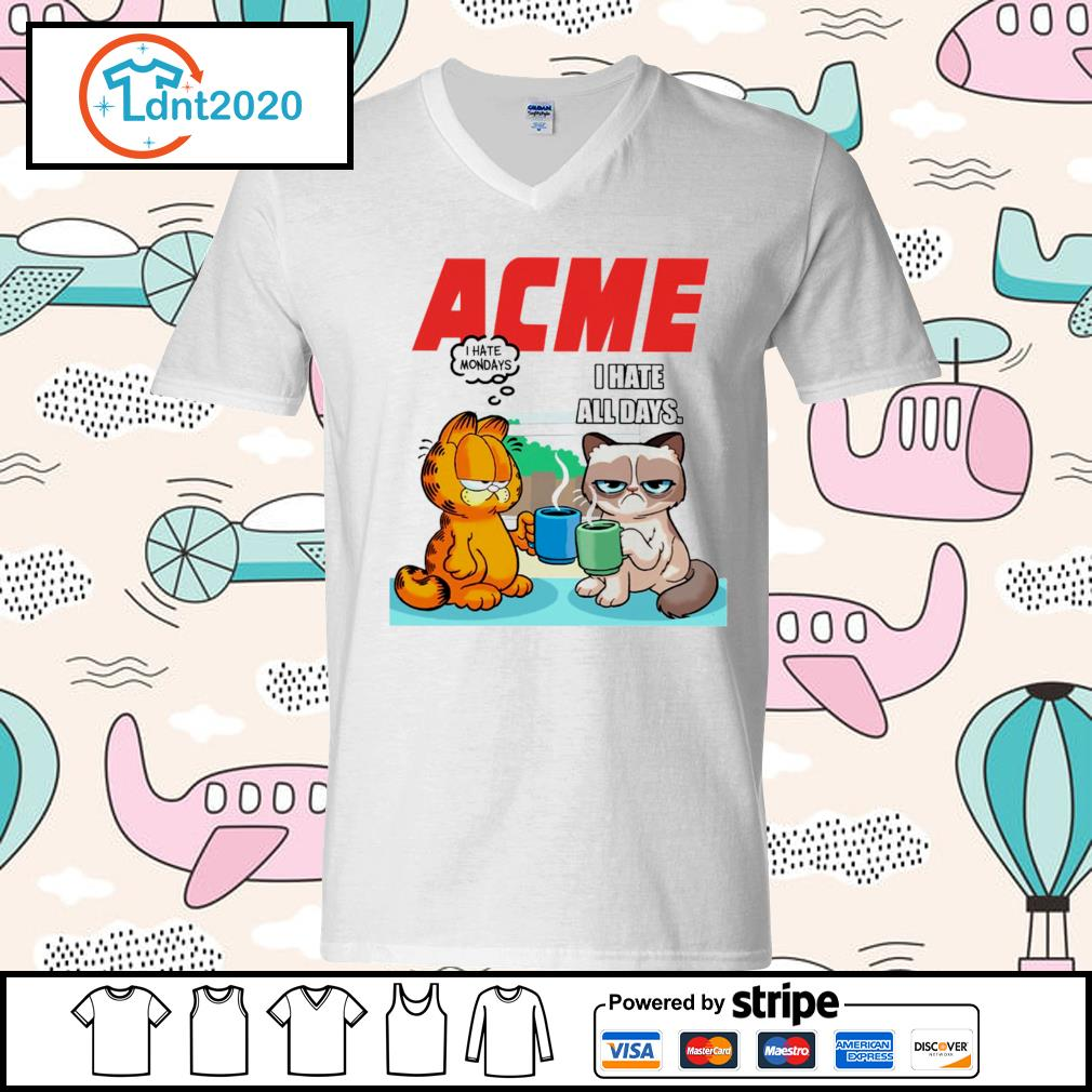 Acme garfield I hate monday grumpy cat I hate all days s v-neck-t-shirt