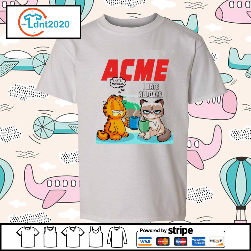 Acme garfield I hate monday grumpy cat I hate all days s youth-tee