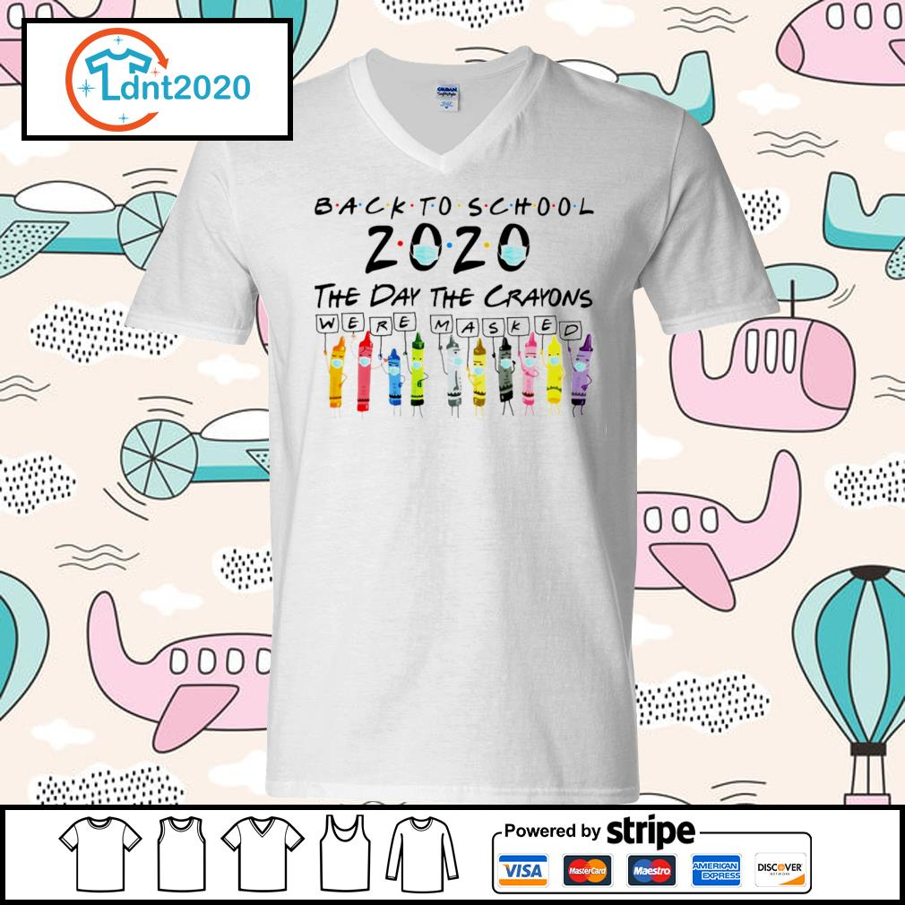 Back to school the day the crayons were masked s v-neck-t-shirt