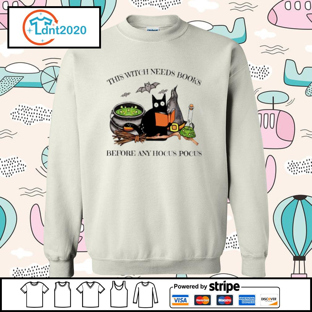 Black Cat this witch needs books before any hocus pocus s sweater