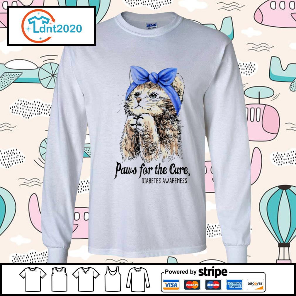 Cat paws for the cure diabetes awareness s longsleeve-tee