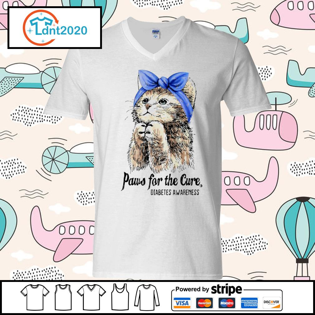 Cat paws for the cure diabetes awareness s v-neck-t-shirt