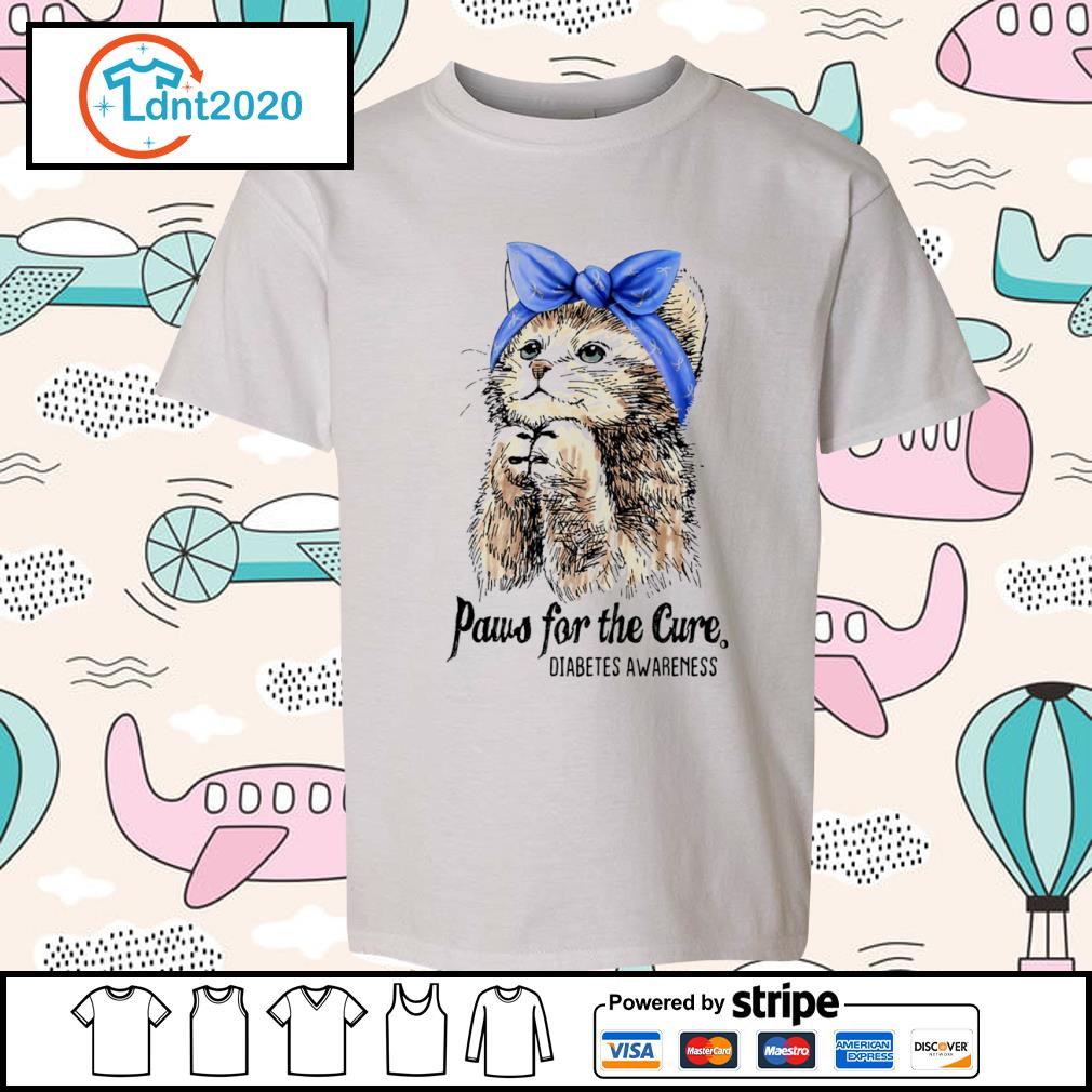 Cat paws for the cure diabetes awareness s youth-tee