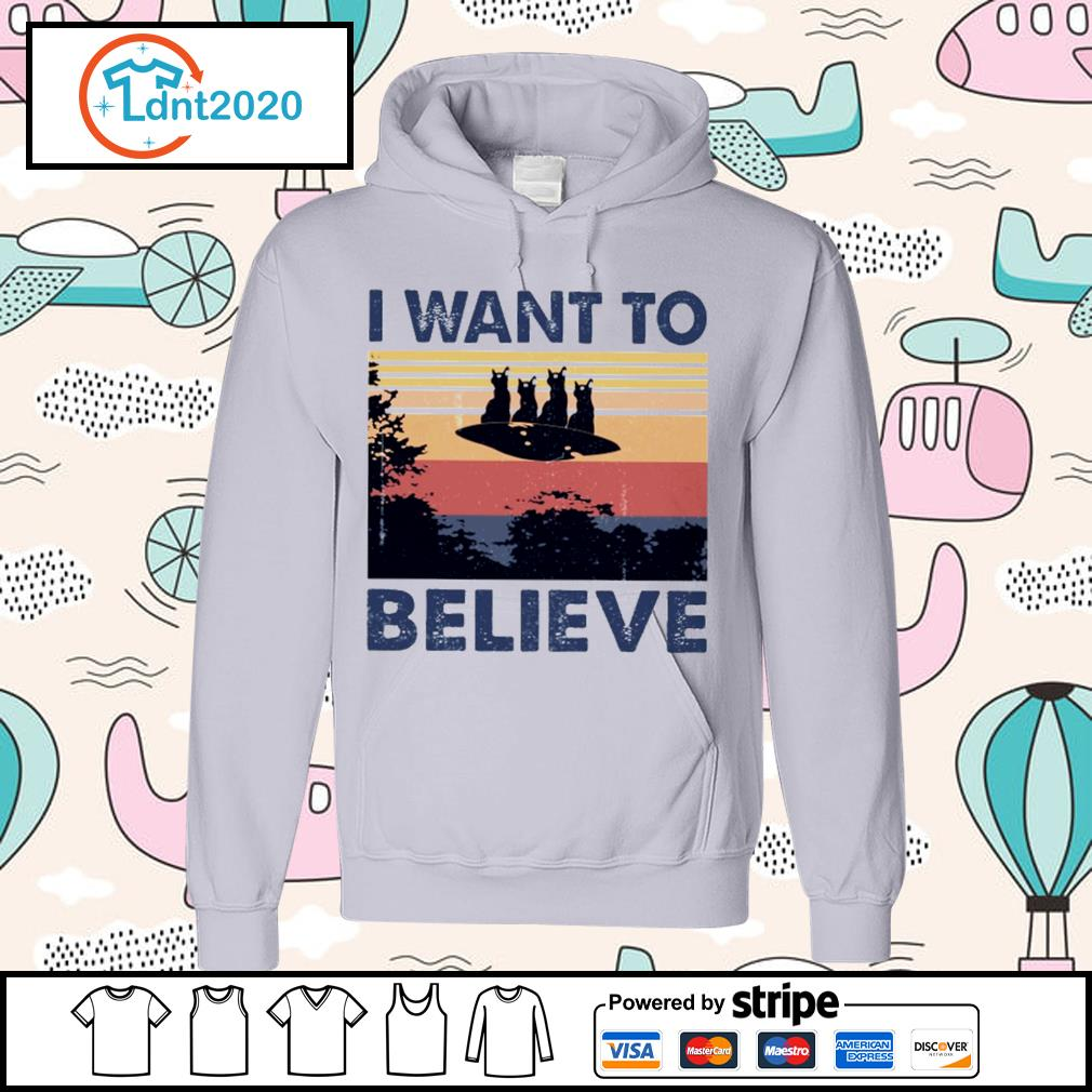 Cats UFO I want to believe vintage s hoodie