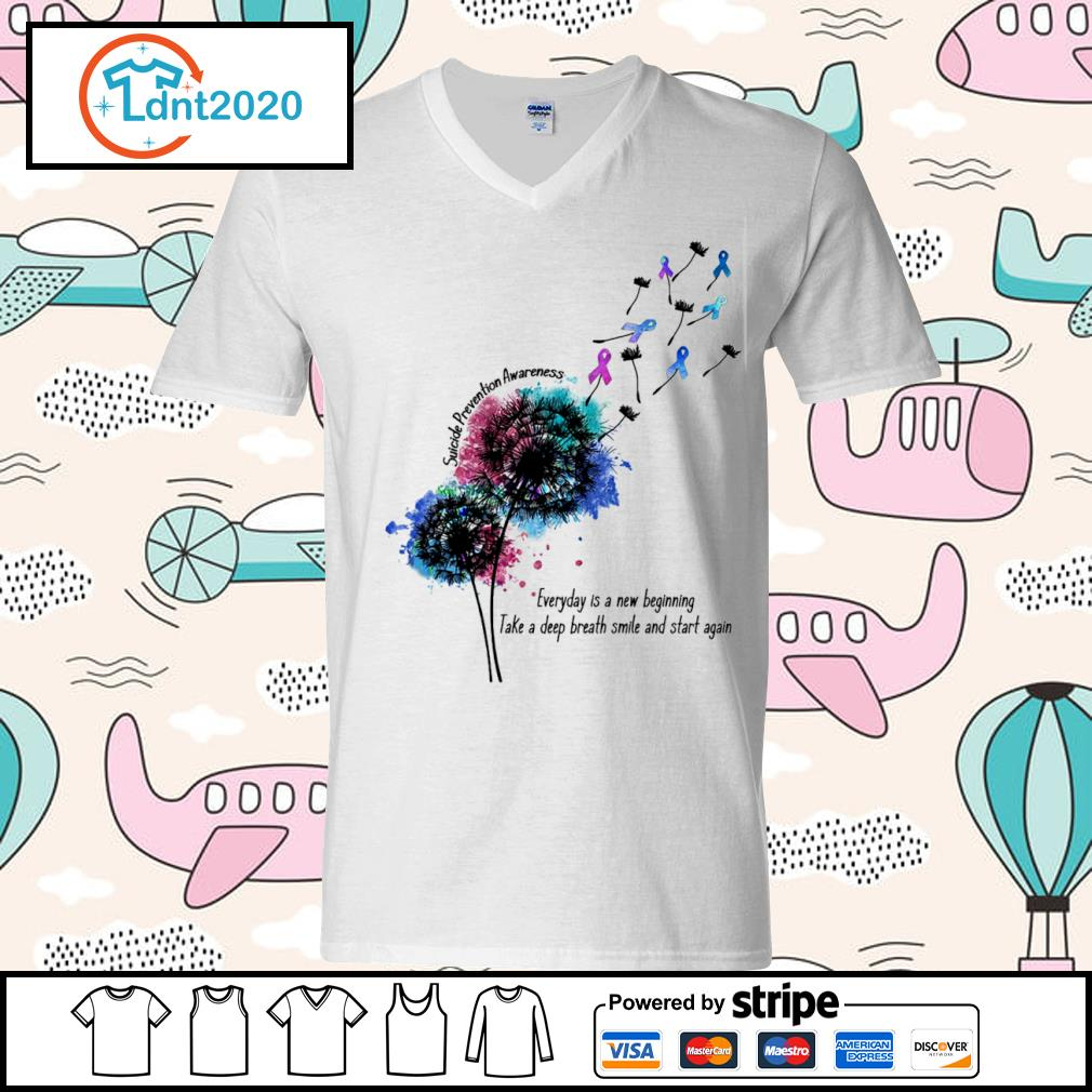 Dandelion Suicide Prevention Awareness everyday is a new beginning take a deep breath smile and start again s v-neck-t-shirt