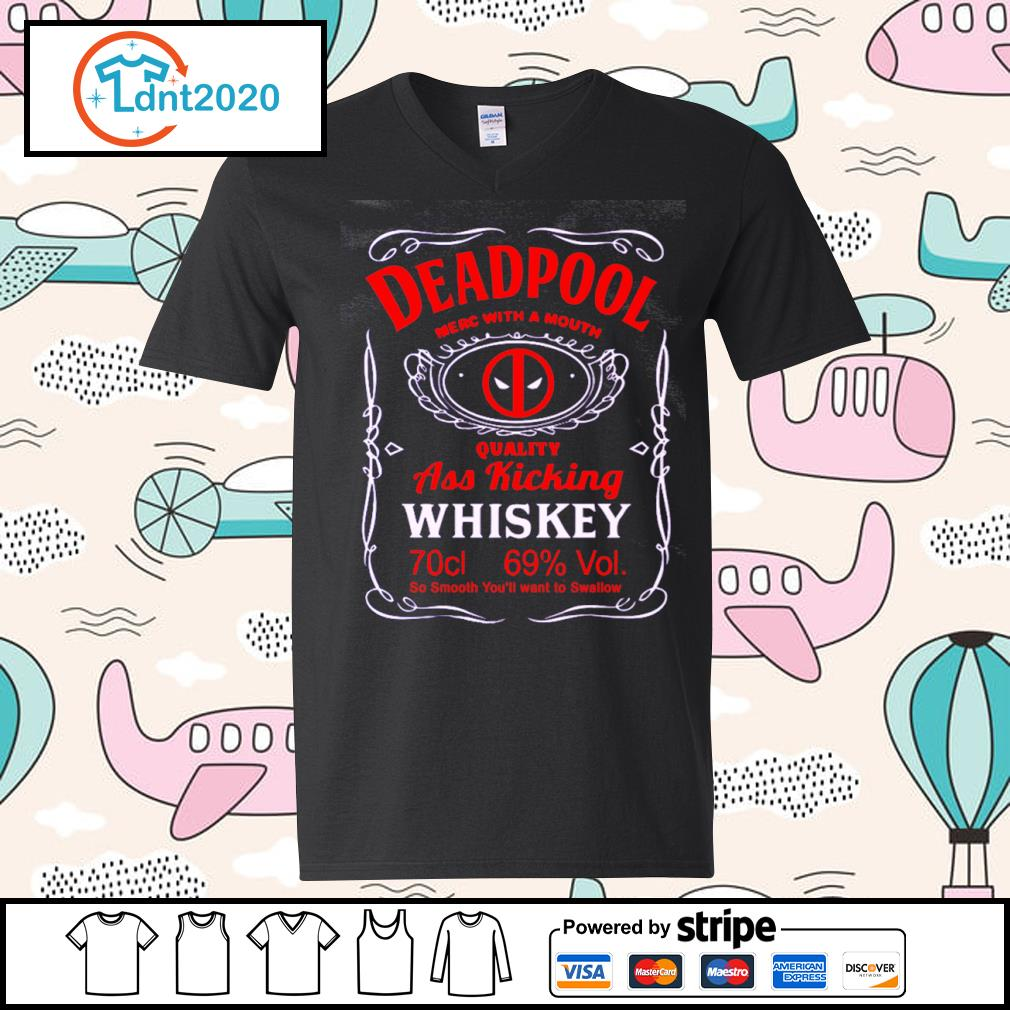 Deadpool merc with a mouth quality ass kicking Whiskey s v-neck-t-shirt