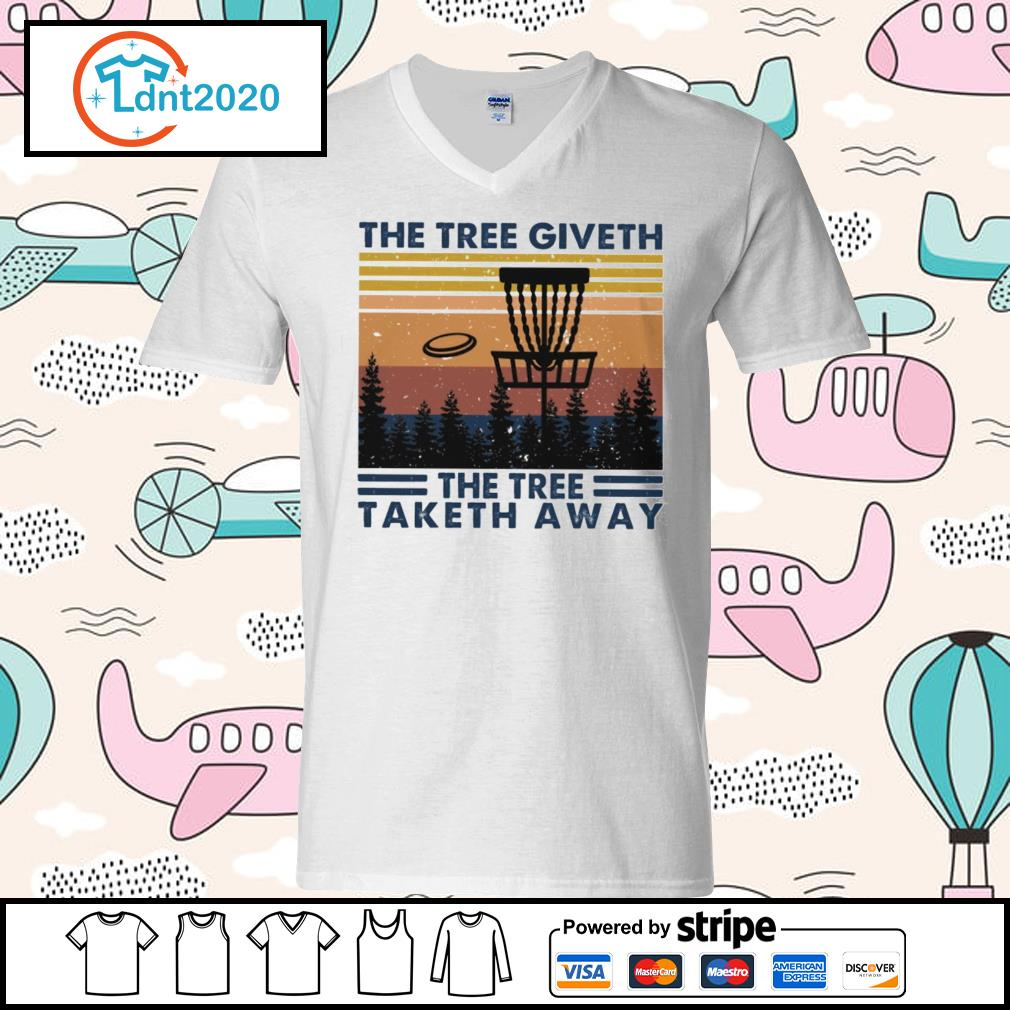 Disc golf hit the tree giveth the tree taketh away vintage s v-neck-t-shirt