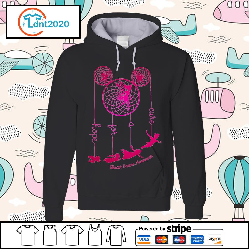 Dreamcatcher Peter Pan hope for a cure Breast Cancer Awareness s hoodie