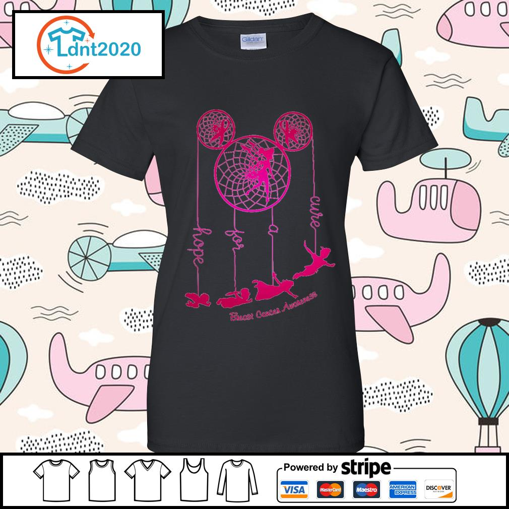 Dreamcatcher Peter Pan hope for a cure Breast Cancer Awareness s ladies-tee