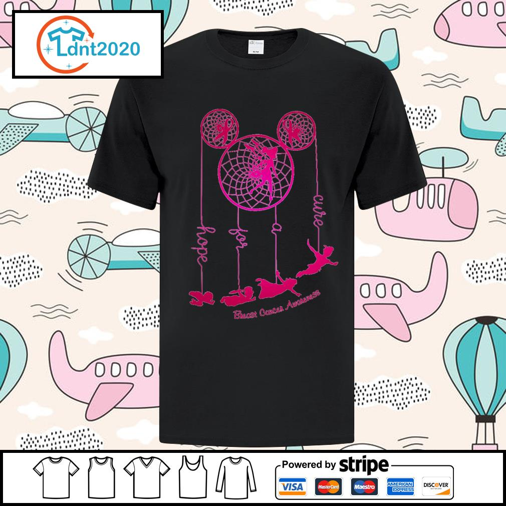 Dreamcatcher Peter Pan hope for a cure Breast Cancer Awareness shirt