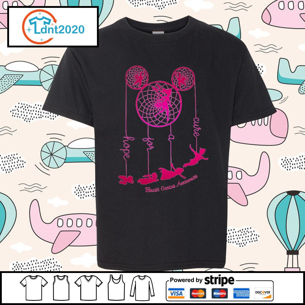 Dreamcatcher Peter Pan hope for a cure Breast Cancer Awareness s youth-tee