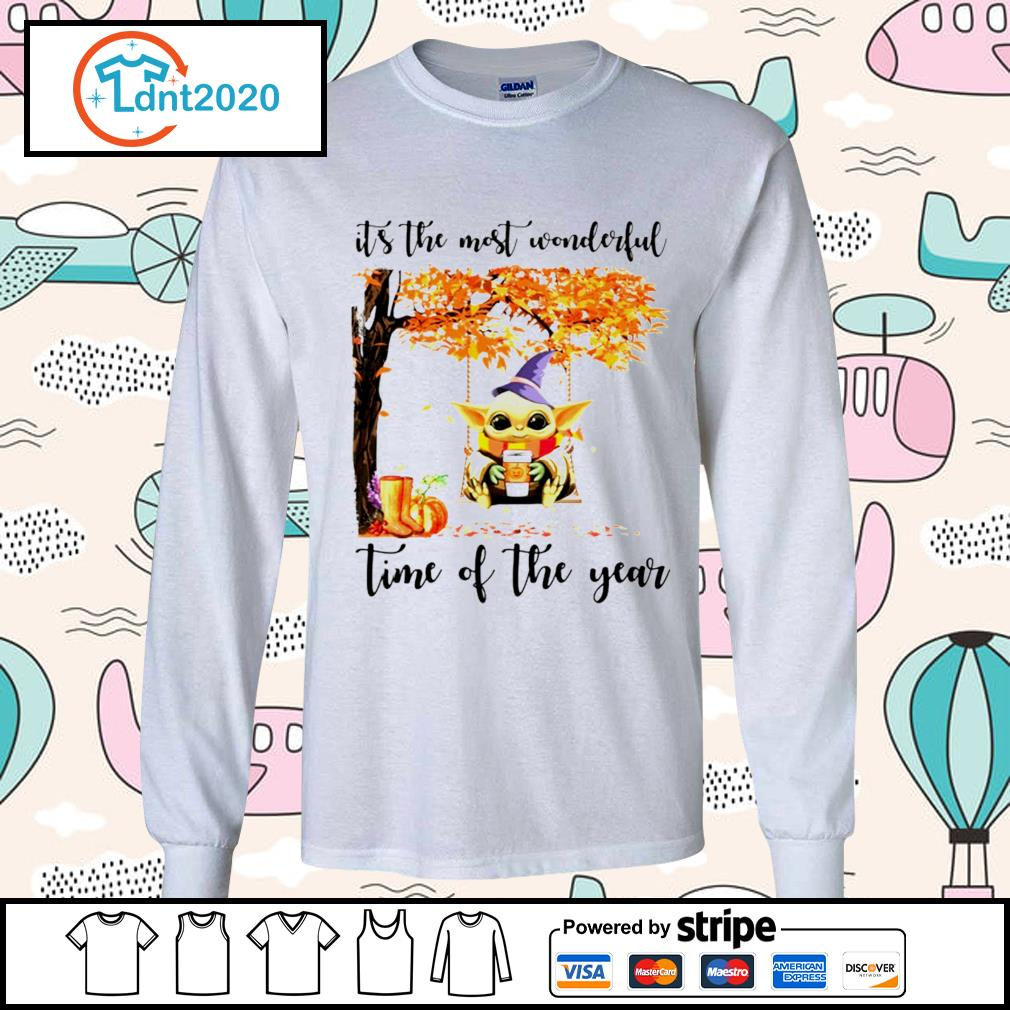 Halloween autumn Baby Yoda it's the most wonderful time of the year s longsleeve-tee