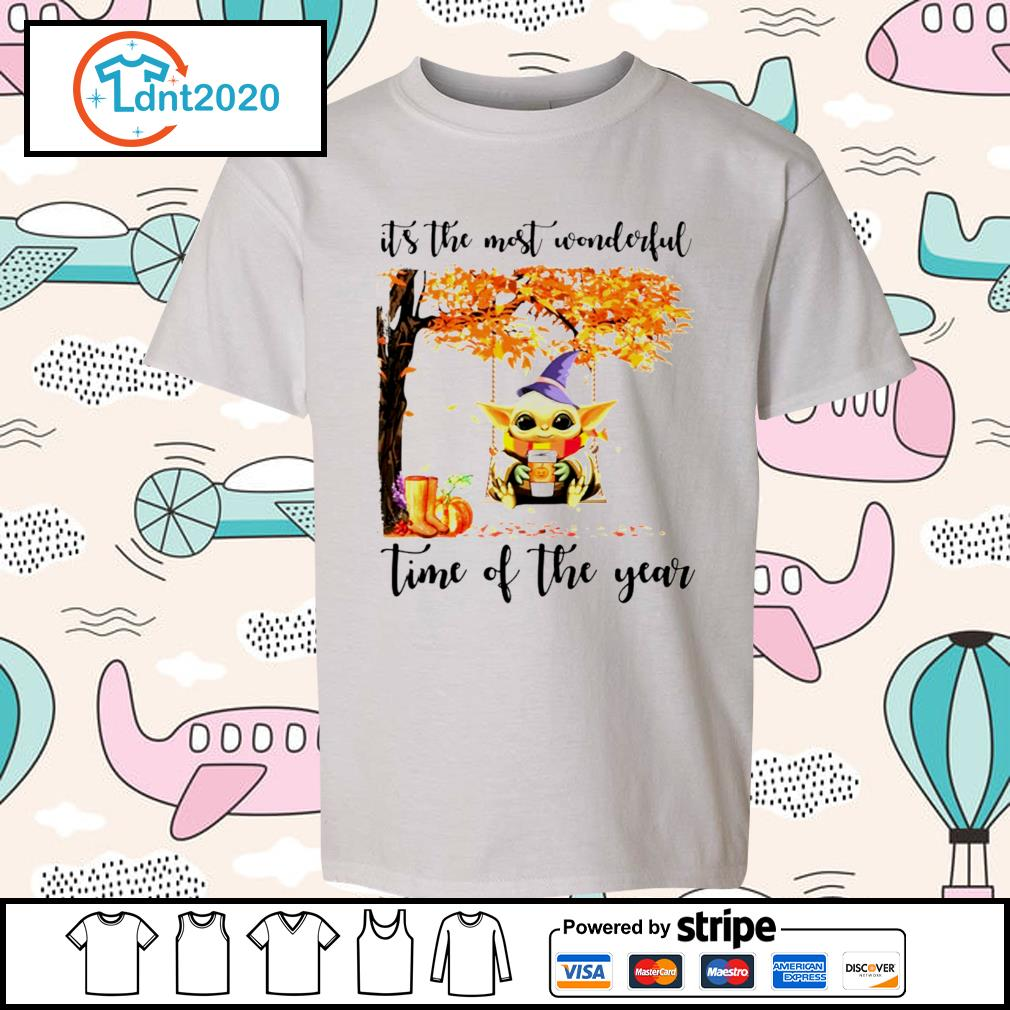 Halloween autumn Baby Yoda it's the most wonderful time of the year s youth-tee