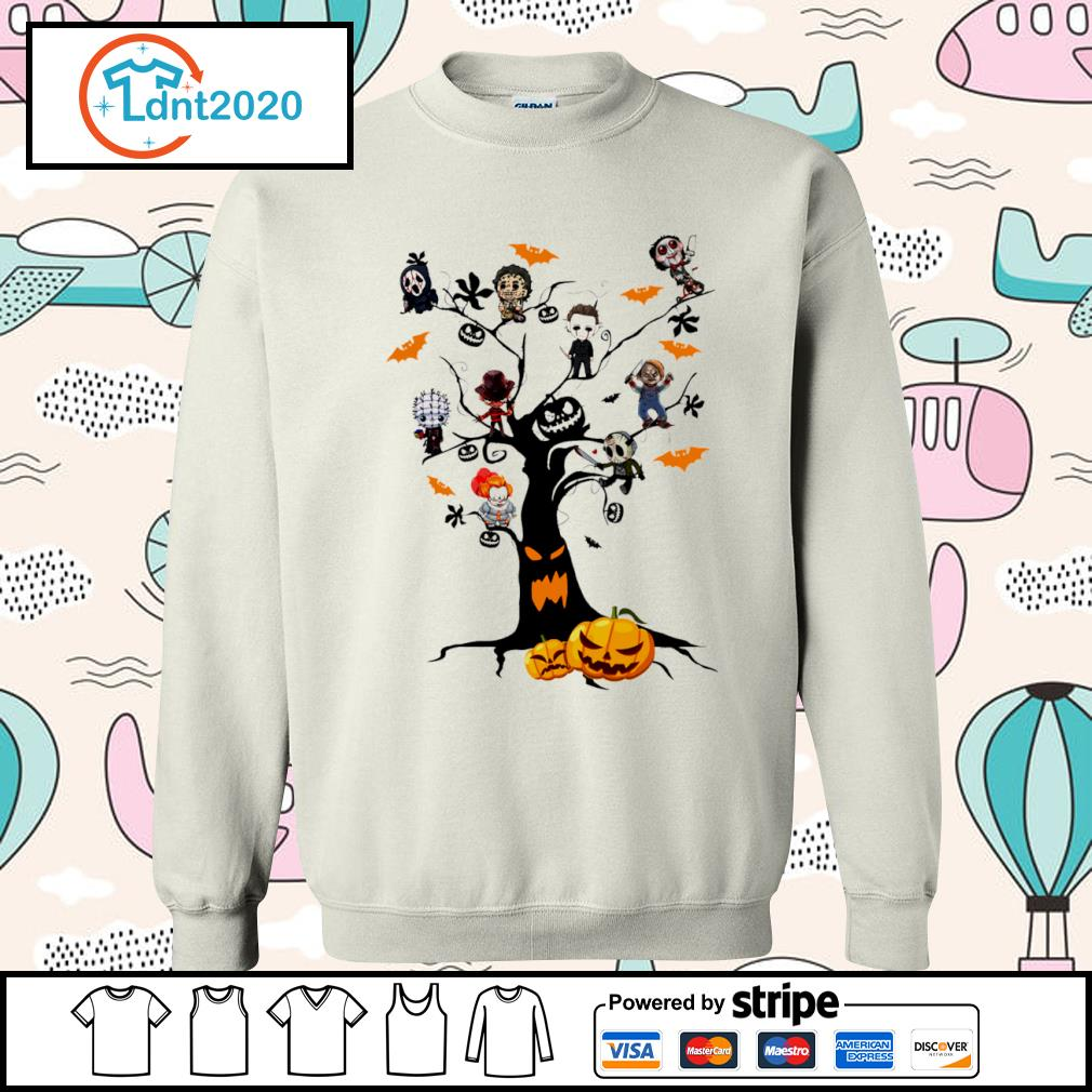 Halloween horror movies characters chibi on tree s sweater