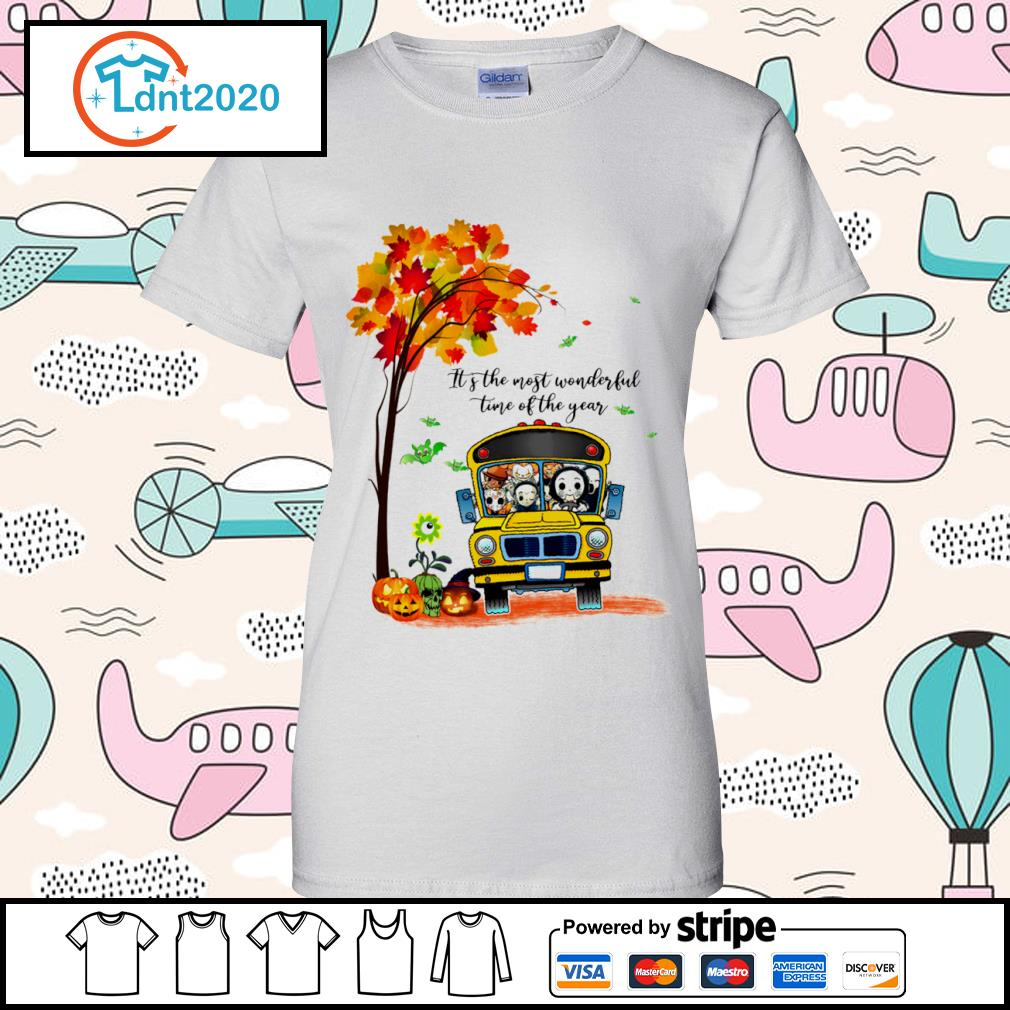 Halloween horror movies characters school bus it's the most wonderful time of the year s ladies-tee