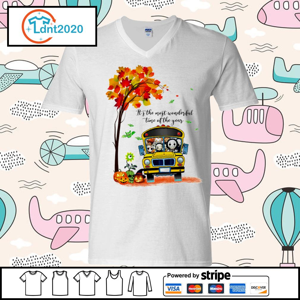 Halloween horror movies characters school bus it's the most wonderful time of the year s v-neck-t-shirt