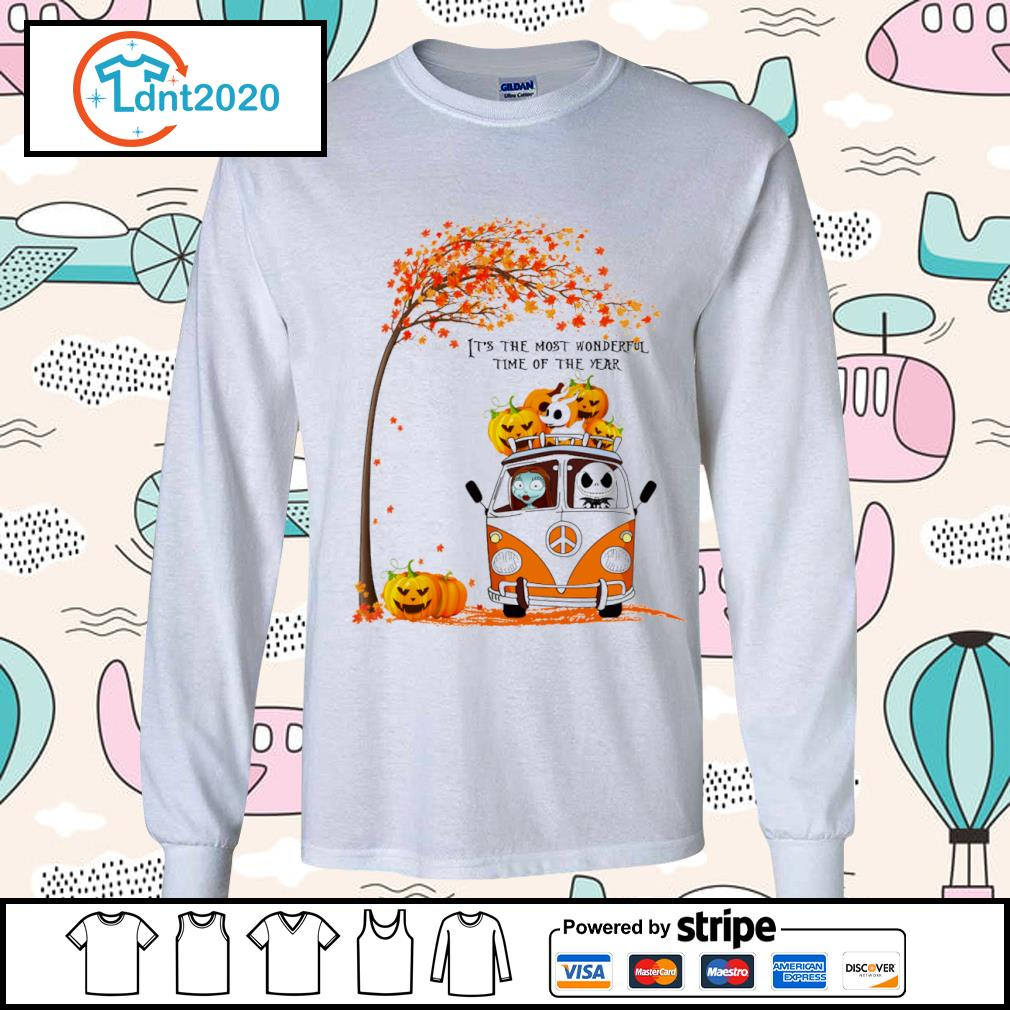 Halloween Jack Skellington and Sally peace car it's the most wonderful time of the year s longsleeve-tee