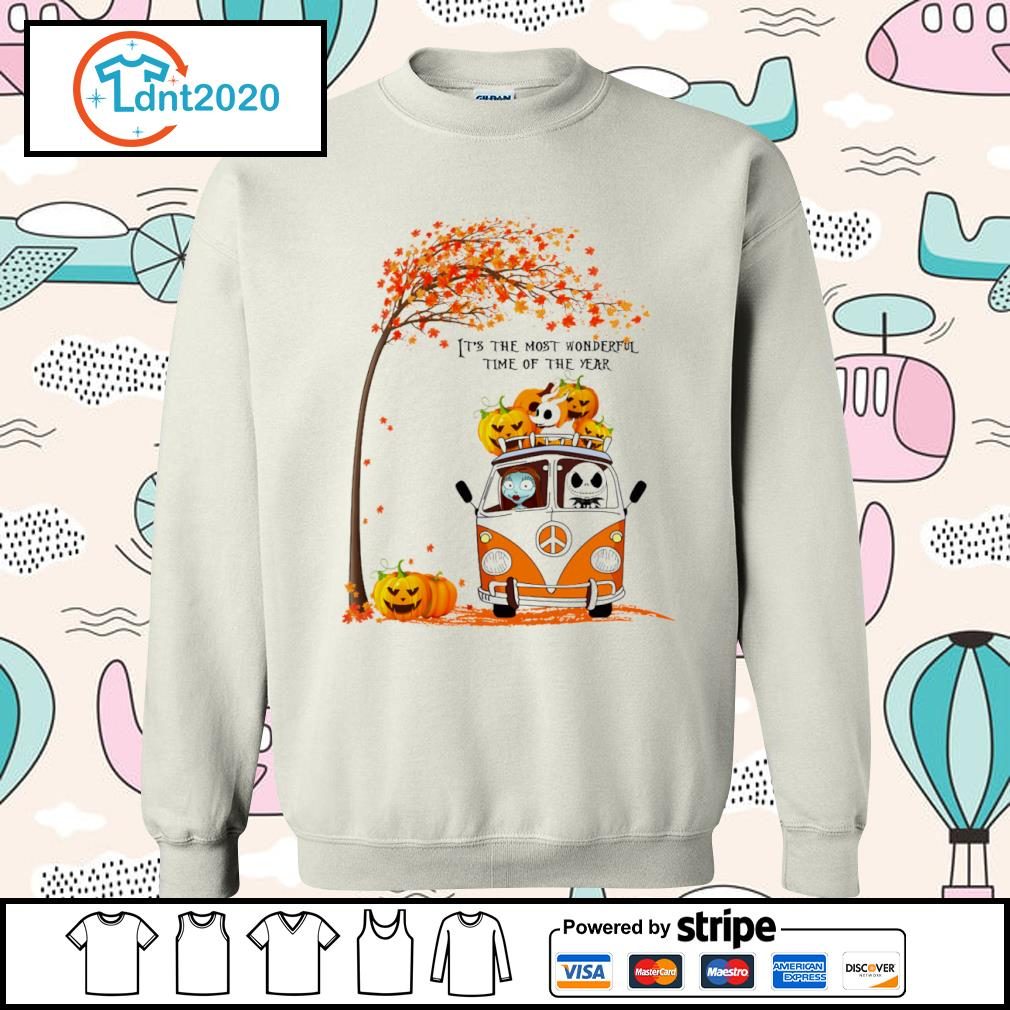 Halloween Jack Skellington and Sally peace car it's the most wonderful time of the year s sweater
