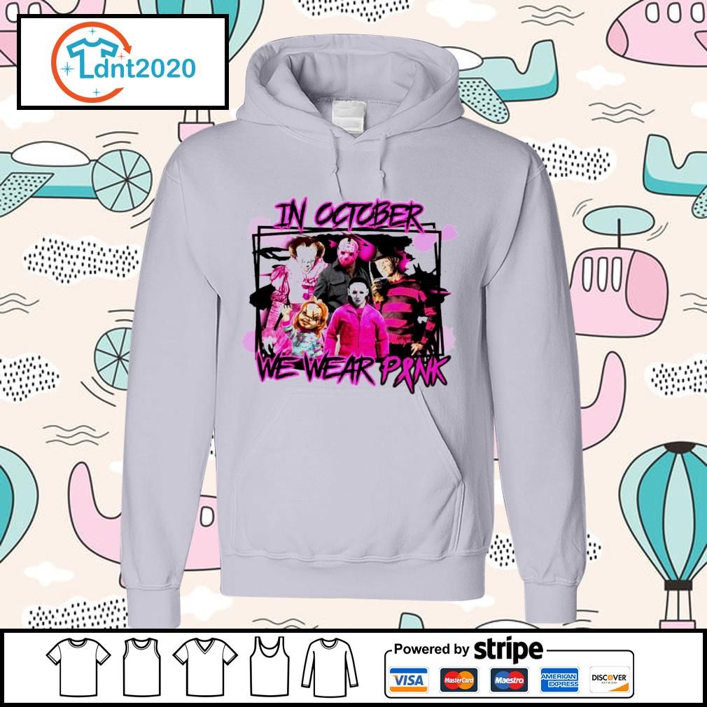 Horror breast cancer in October we wear pink s hoodie