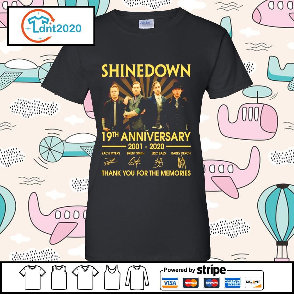 Shinedown 19th anniversary 2001 2020 thank you for the memories s ladies-tee