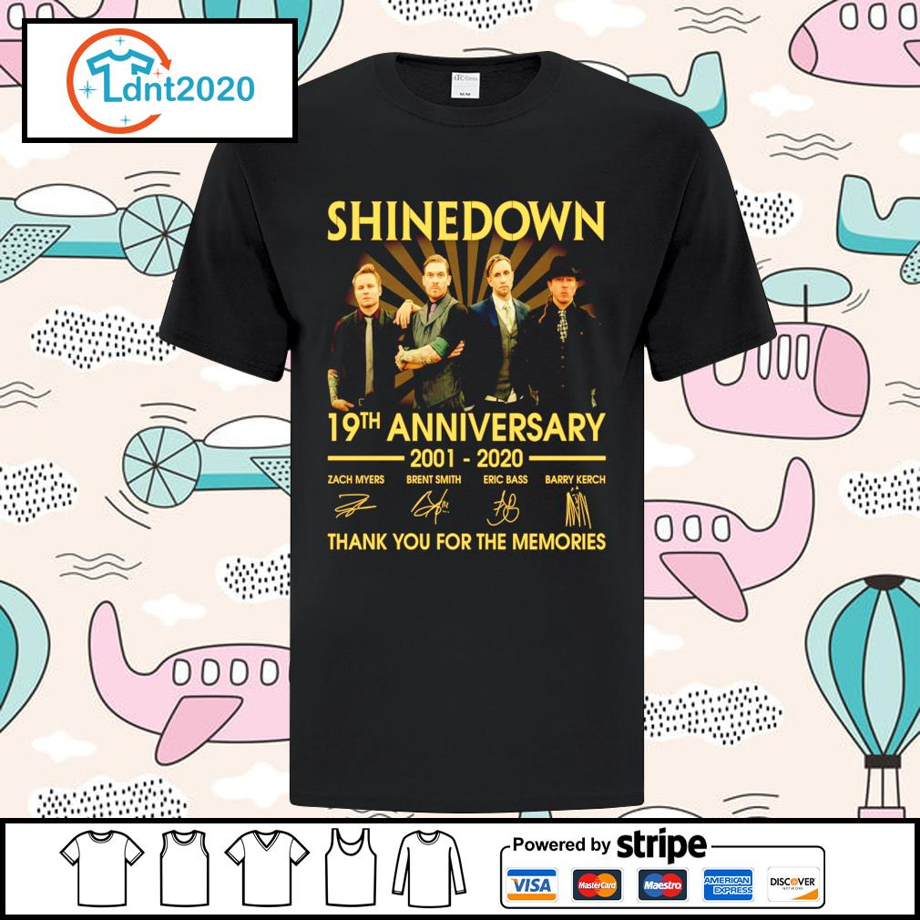 Shinedown 19th anniversary 2001 2020 thank you for the memories shirt