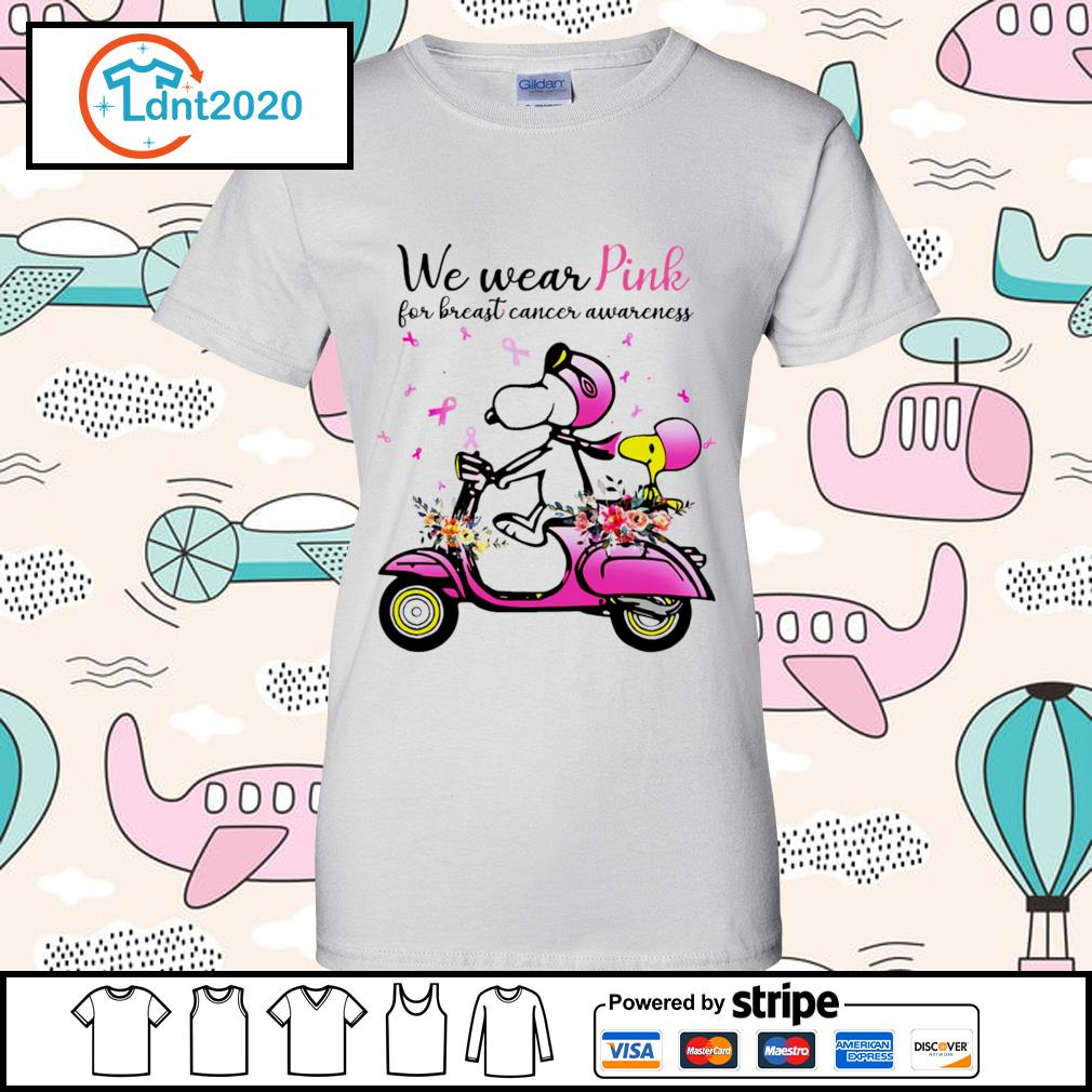 Snoopy and Peanuts we wear pink for breast cancer awareness s ladies-tee