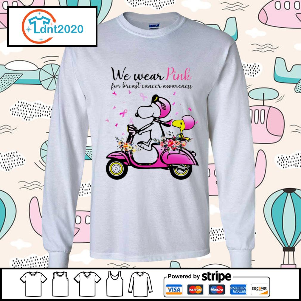 Snoopy and Peanuts we wear pink for breast cancer awareness s longsleeve-tee