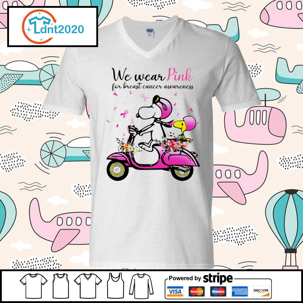 Snoopy and Peanuts we wear pink for breast cancer awareness s v-neck-t-shirt