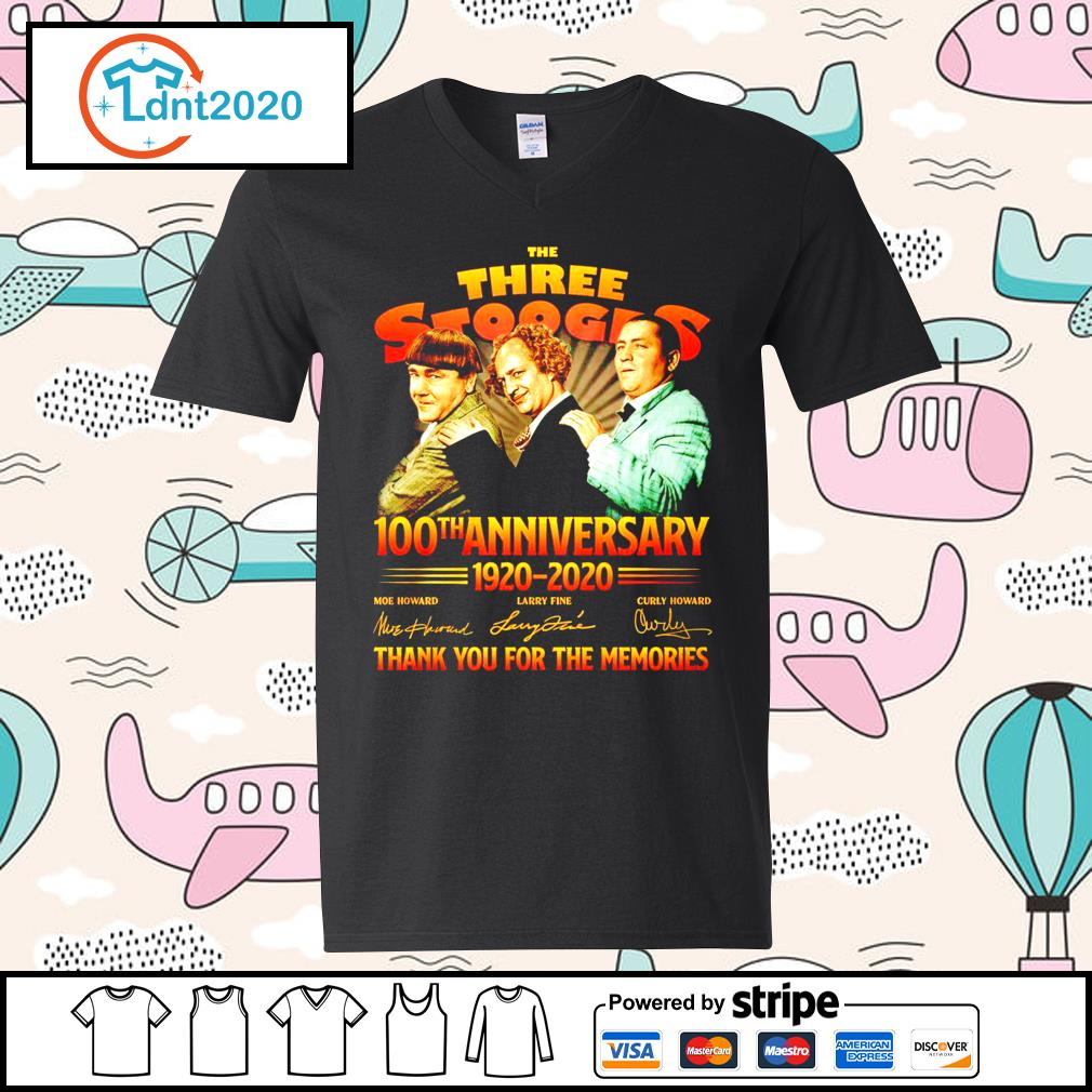 The Three Stooges 100th anniverary 1920 2020 thank you for the memories s v-neck-t-shirt