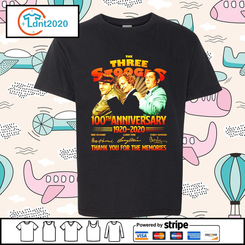 The Three Stooges 100th anniverary 1920 2020 thank you for the memories s youth-tee