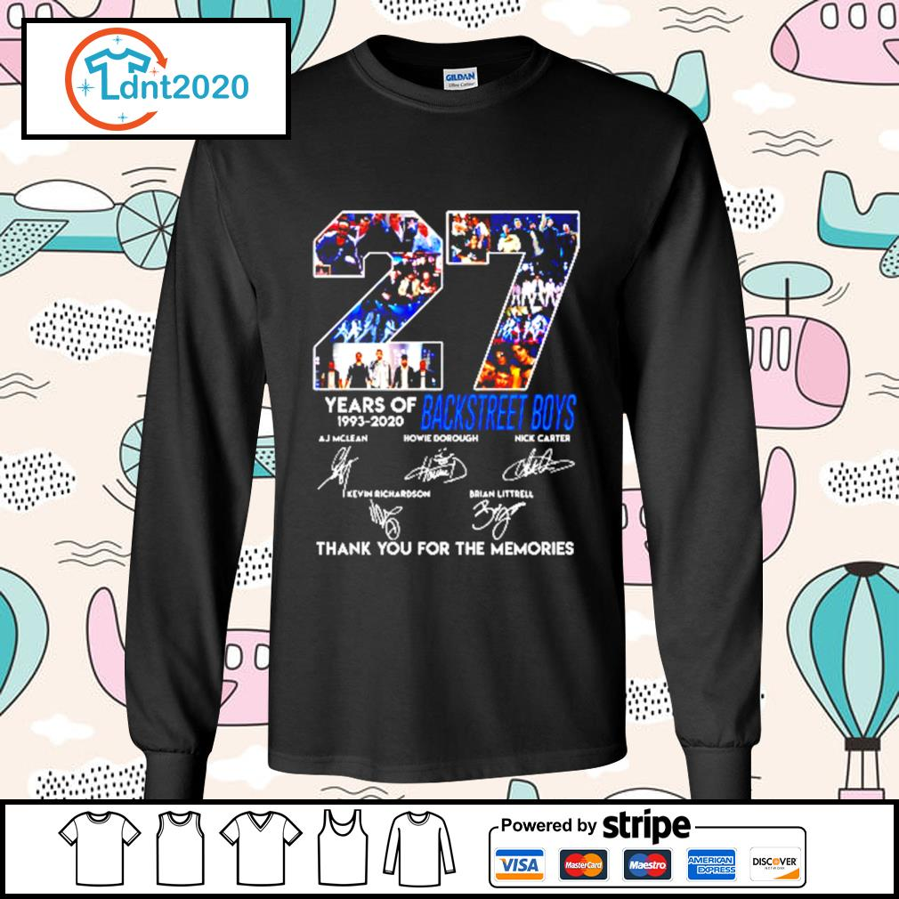 27 years of 1993 2020 Backstreet Boys signature thank you for the memories s longsleeve-tee