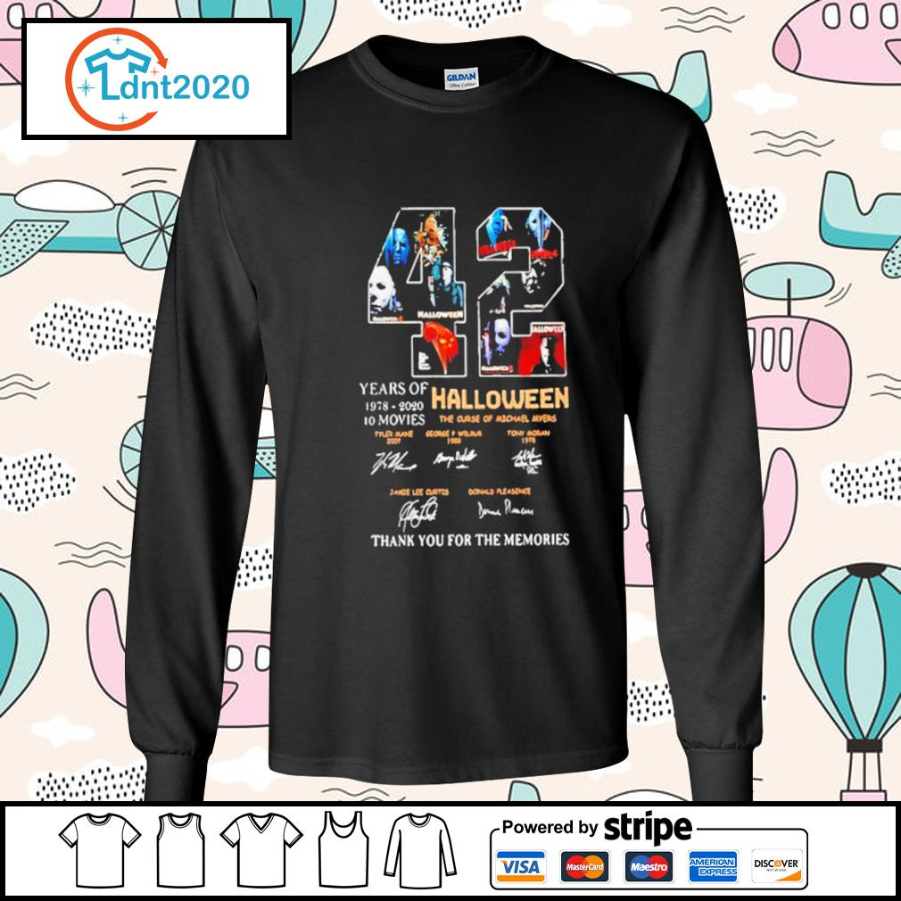 42 years if Halloween 1978 2020 10 movies thank you for the memories s longsleeve-tee
