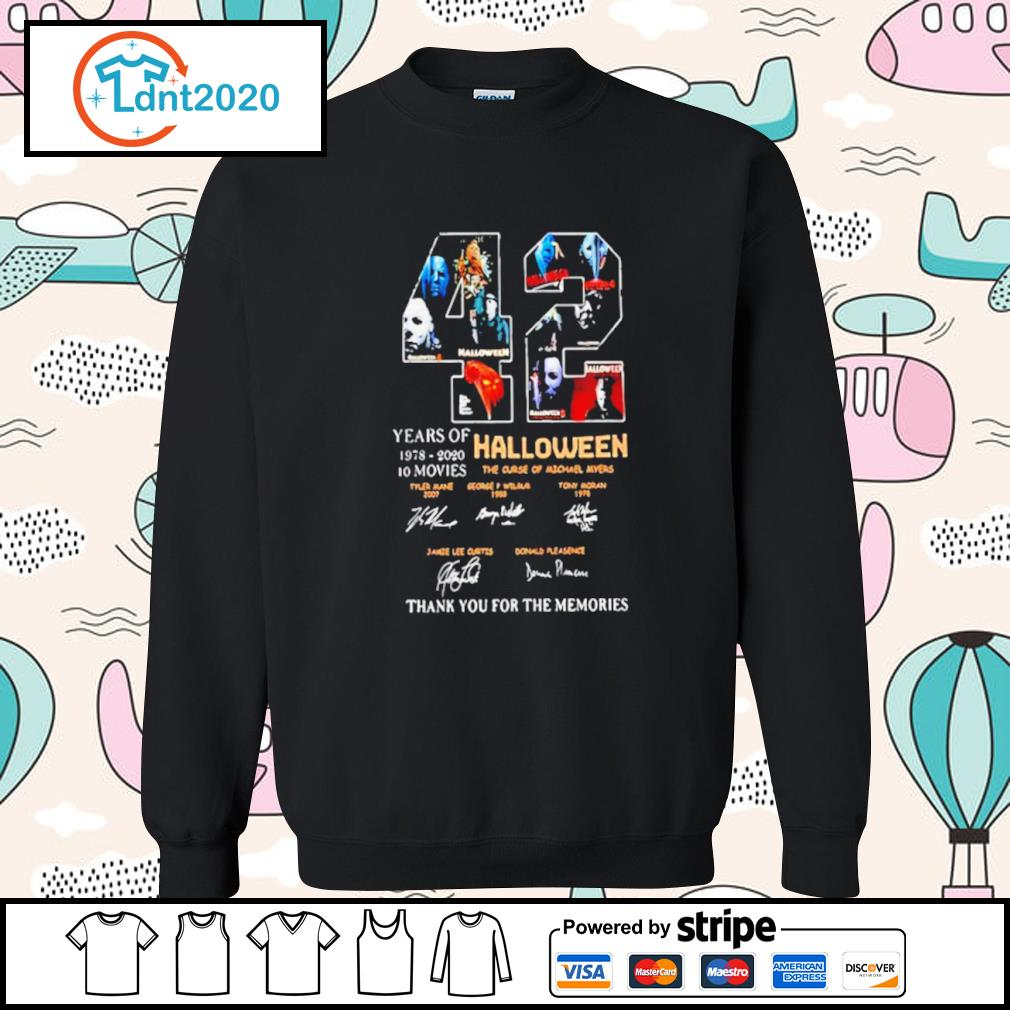42 years if Halloween 1978 2020 10 movies thank you for the memories s sweater