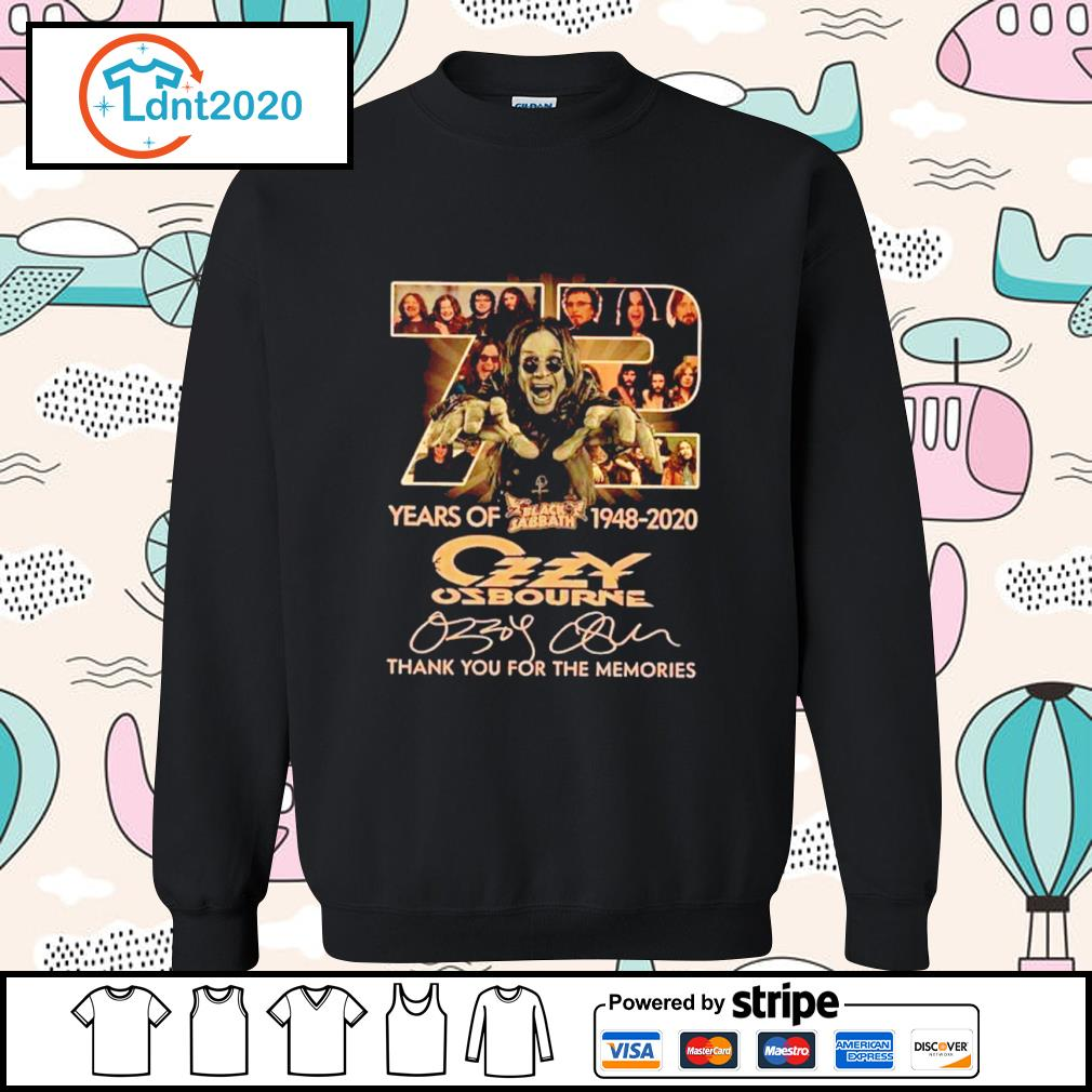 72 years of Black Sabbath 1948 2020 Ozzy Osbourne thank you for the memories s sweater