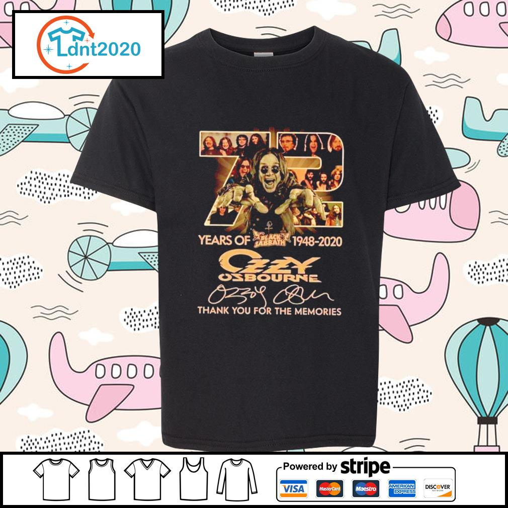72 years of Black Sabbath 1948 2020 Ozzy Osbourne thank you for the memories s youth-tee