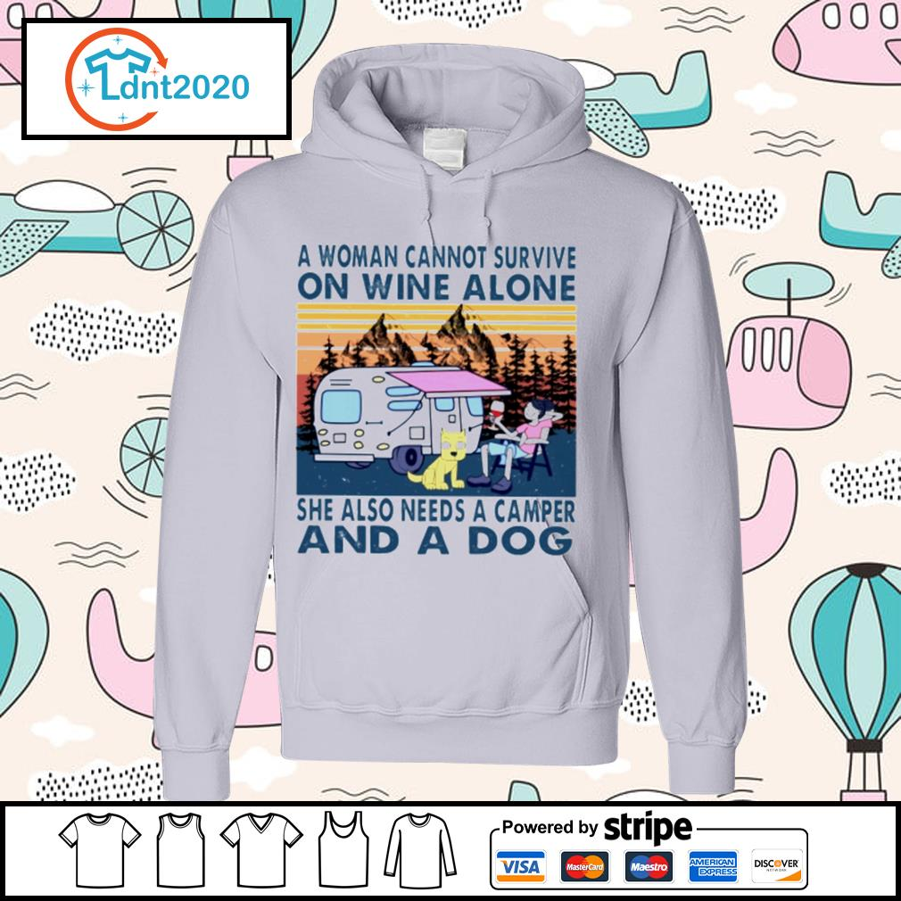 A woman cannot survive on wine alone she also needs a camper and a dog vintage s hoodie
