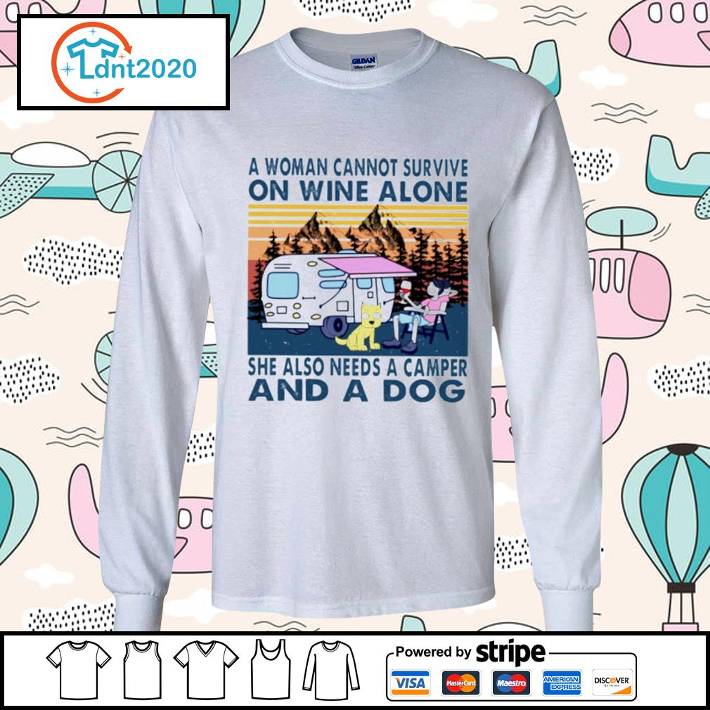 A woman cannot survive on wine alone she also needs a camper and a dog vintage s longsleeve-tee