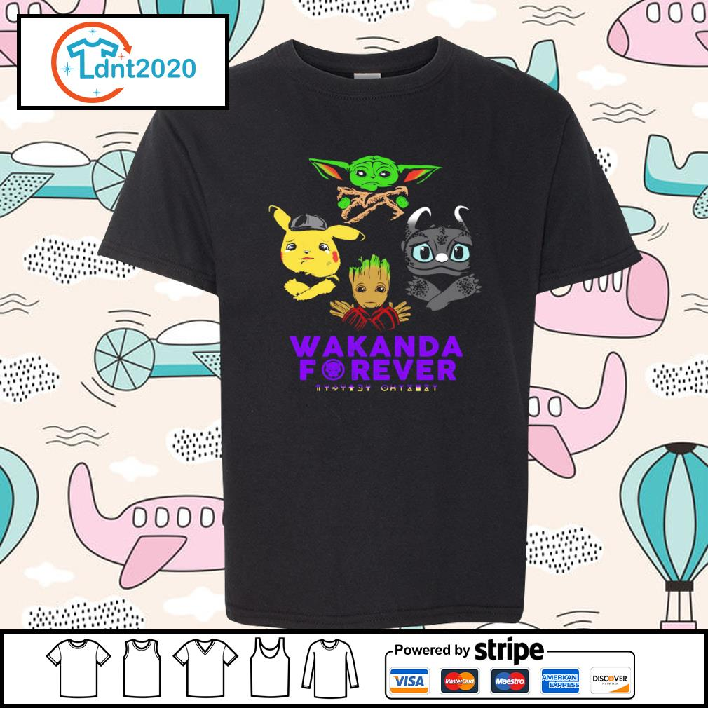 Baby yoda pikachu baby groot night fury wakanda forever s youth-tee