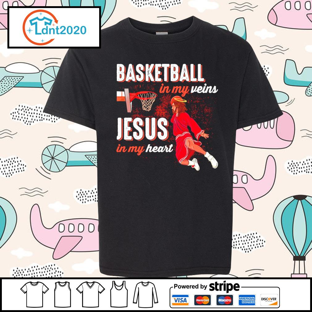 Basketball in my veins Jesus in my heart s youth-tee