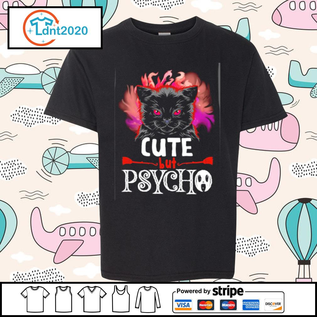 Black cat cute but psycho halloween s youth-tee