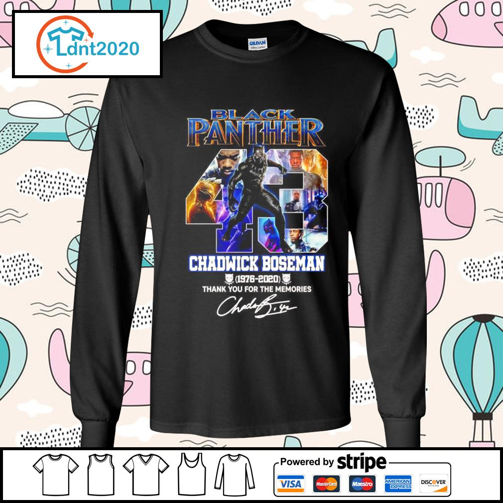 Black Panther 43 Chadwick Boseman 1976 2020 thank you for the memories s longsleeve-tee