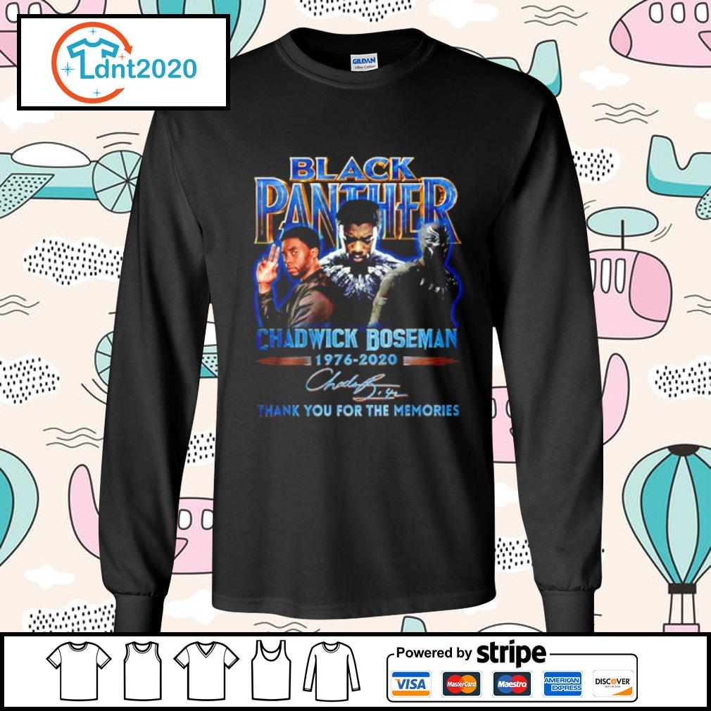 Black panther Chadwick Boseman 1976-2020 thank you for the memories s longsleeve-tee