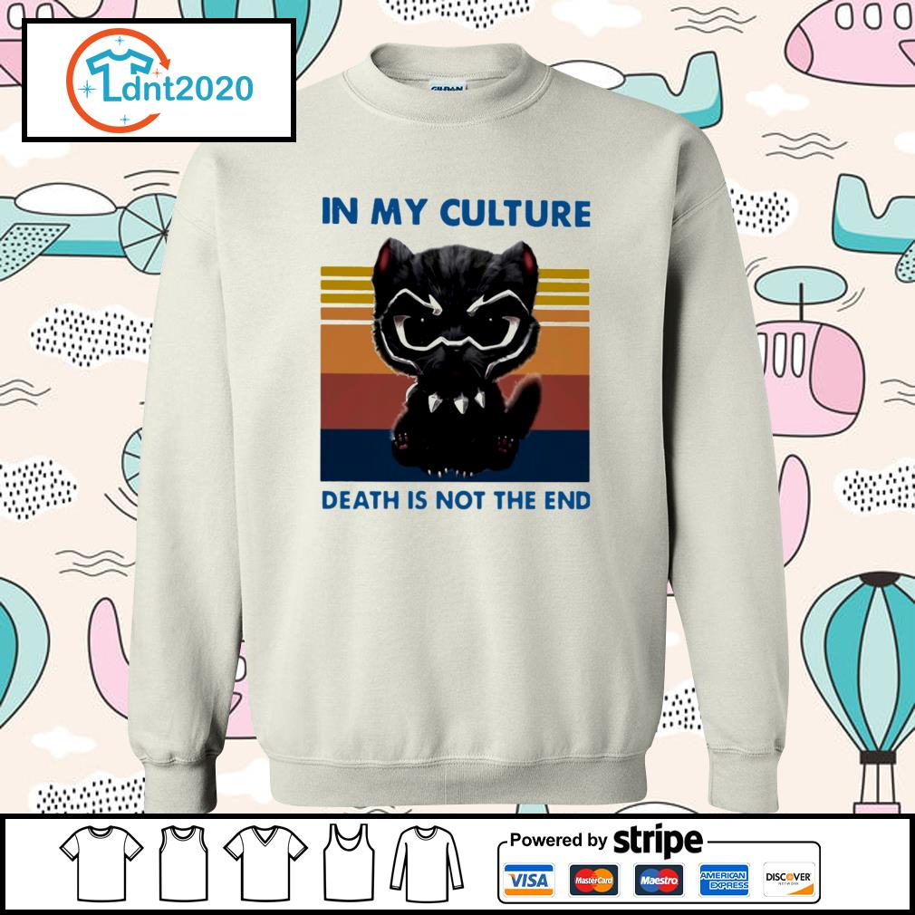 Cat black panther in my culture death is not the end vintage s sweater