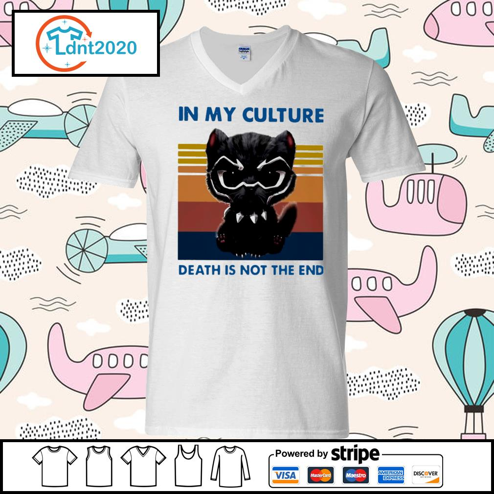 Cat black panther in my culture death is not the end vintage s v-neck-t-shirt