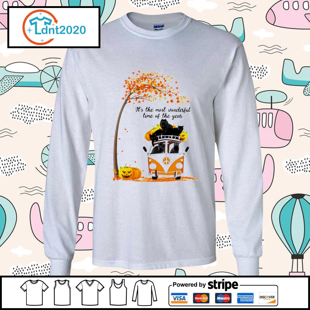Cats black hippie car It's the most wonderful time of the year longsleeve-tee