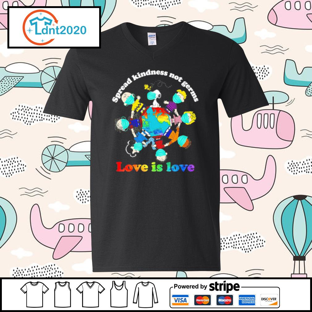 Charlie Brown Friends spread kindness not germs love is love v-neck-t-shirt