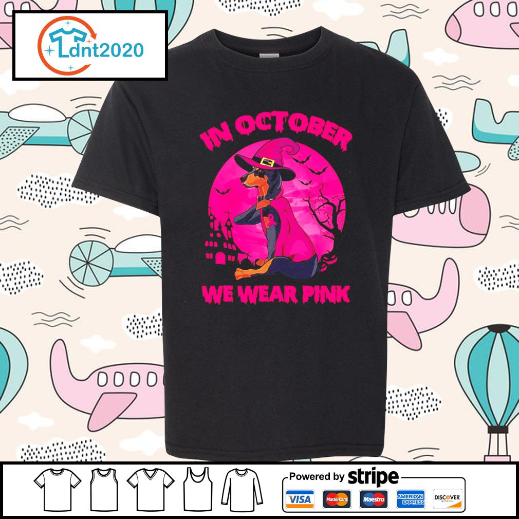Dachshund In October we wear pink halloween s youth-tee