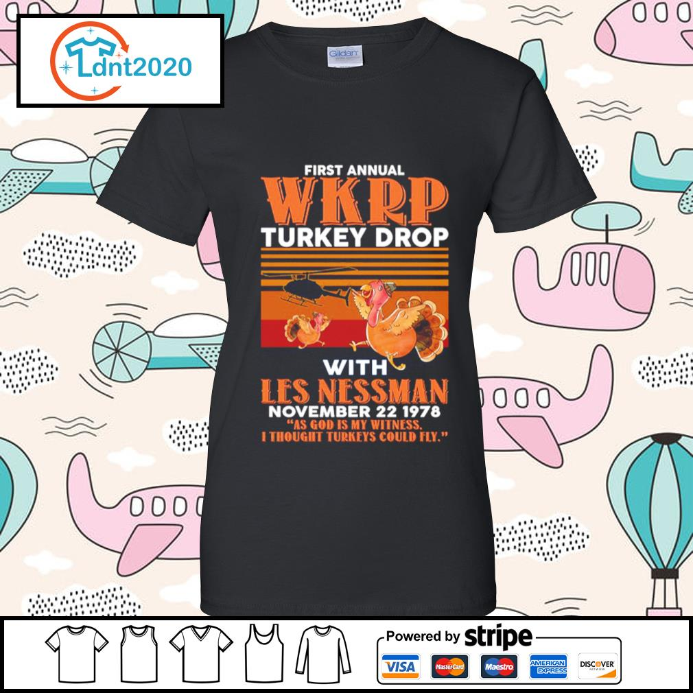 First annual WKRP turkey drop with Les Nessman November 22 1978 vintage s ladies-tee