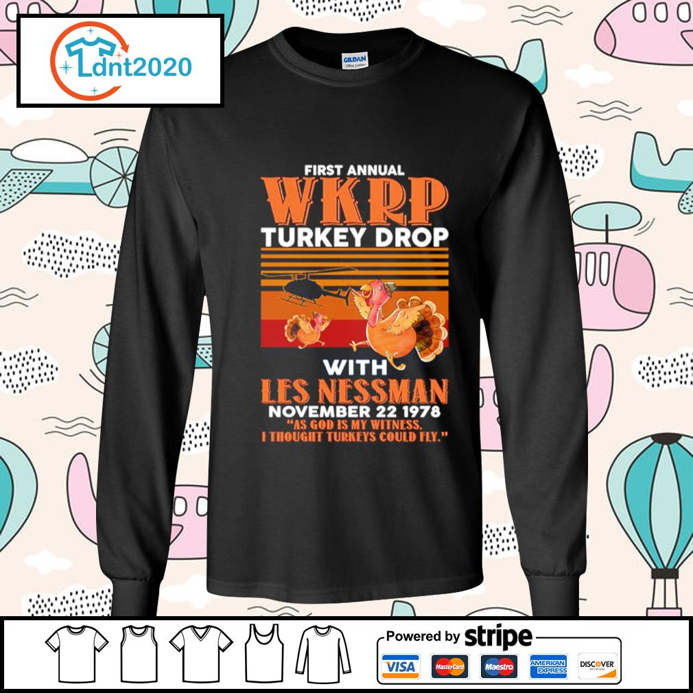 First annual WKRP turkey drop with Les Nessman November 22 1978 vintage s longsleeve-tee